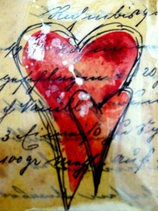 Herz gemalt auf altes Papier 2
